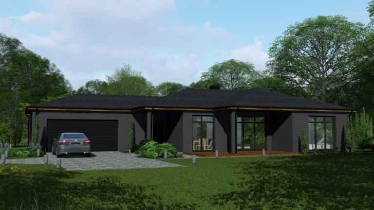 Gyvenamasis namas vieno auksto slaitiniu stogu 1